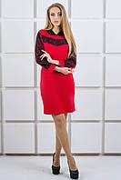 """Платье с капюшоном из гипюра """"Камита"""" р. 44-52 красный"""