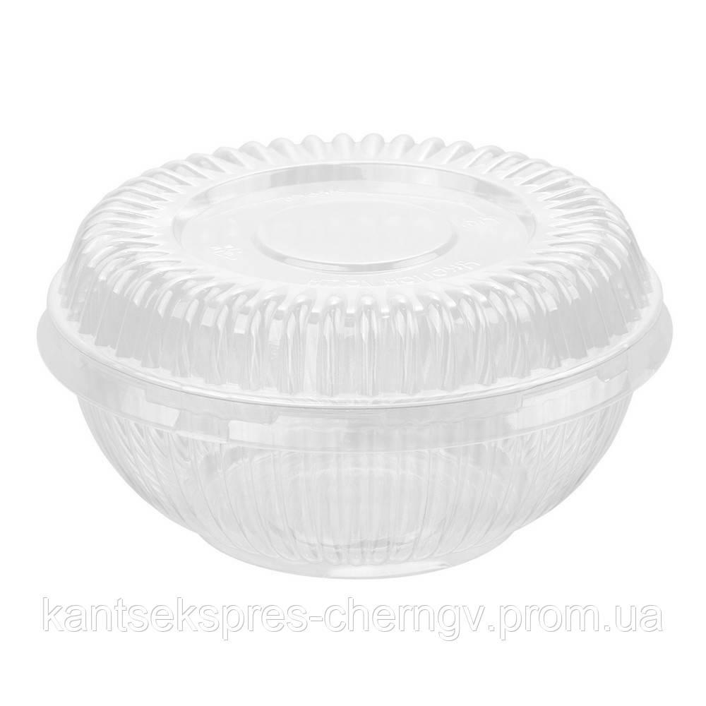 Салатница Инпак круглая с крышкой 500 (500мл), 15 шт
