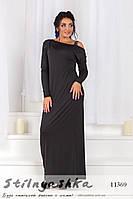 Вечернее платье для полных со стразами на плечах черное