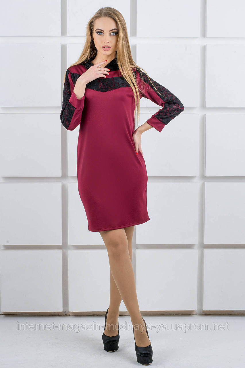 """Платье с капюшоном из гипюра """"Камита"""" р. 52 марсала"""