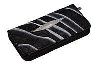 Кошелек из кожи ската Ekzotic leather Черно-белый (stw07), фото 1