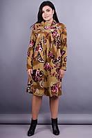 Марьяна. Батальное женское платье. Огурец коричневый. 56