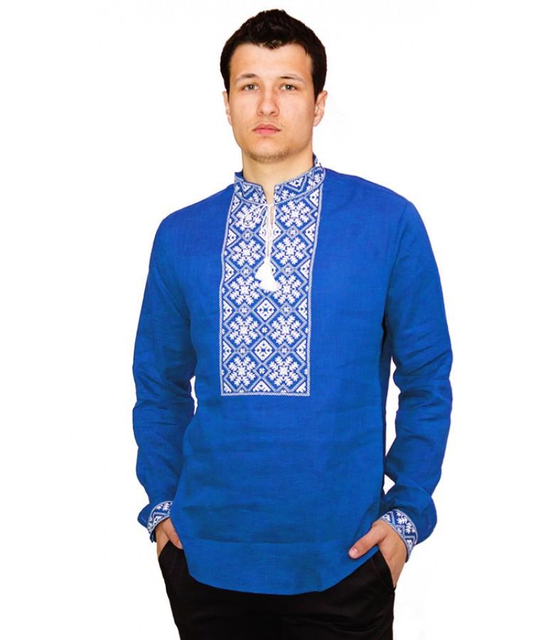 bd073a15c3f479 Вишиванка чоловіча, синій льон, біла вишивка: продажа, цена в ...