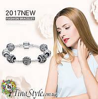 Браслет Пандора Pandora Сердце цветок прозрачная кристаллы бусины любовь НОВИНКА! Шарм! love