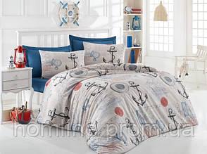 Постельное белье Eponj Home ранфорс Ahoy бежевое полуторный размер