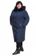 Зимня женская куртка пальто больших размеров Батал стежка, фото 1