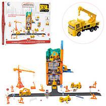 Гараж 62-31 см, стройплощадка, машинка(металл) 8,5 см, дорожные знаки, 54 детали, в коробке 40-30-5 см,8899