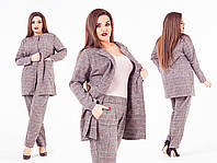 Женский брючный костюм в клетку делового стиля,батал