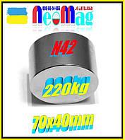 Магнит неодимовый мощный 220кг - 70*40, N42,Сертификат, Гарантия 30лет