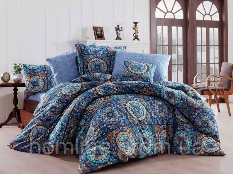 Постельное белье Eponj Home ранфорс Ashley синее евро размер