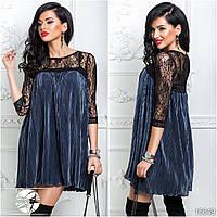 Коктейльное платье плиссе темно-синего цвета с верхом из гипюра. Модель 16649