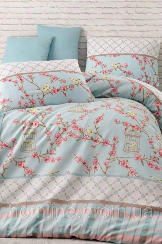Постельное белье Eponj Home ранфорс BirdCage бирюзовое евро размер
