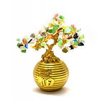 Дерево в золотой кадке (20х19х12 см) Код:26499