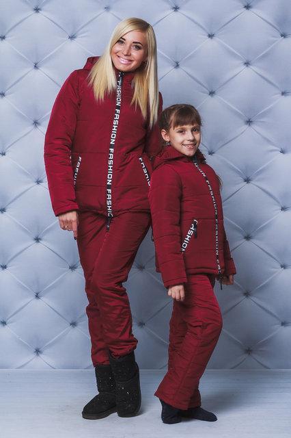 """Дуже теплий зимовий жіночий костюм """"Аміні"""" (42-58 р-ри) бордо"""