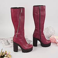 Зимние бордовые сапоги на каблуке. Тиасс обувь Херсон