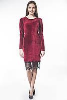 Платье велюр приталенное бордо + кружево