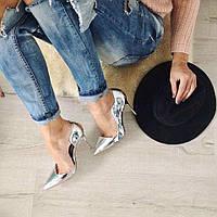 Серебристые туфли-лодочки
