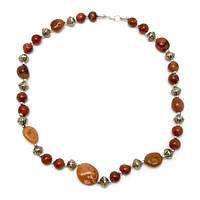 Ожерелье из агата и металла (28 см) Код:29295