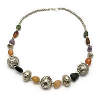 Ожерелье из агата и металла (25 см) Код:29294