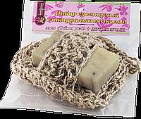 Вязанная натуральная мочалка с мылом «Чайная роза»