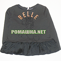 Детская блузка (с длинным рукавом) р.98 для девочки ткань 100% хлопок 1119 Черный