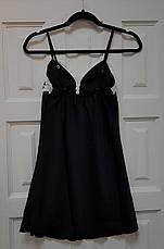 Женская ночная сорочка.Черный атлас, белое кружево XL- 317-02, фото 2