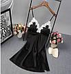 Женская ночная сорочка.Черный атлас, белое кружево XL- 317-02, фото 3
