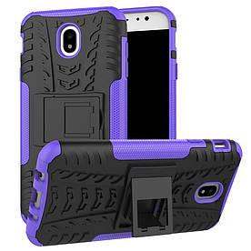 Чехол накладка для Samsung Galaxy J7 2017 J730F противоударный с подставкой, фиолетовый