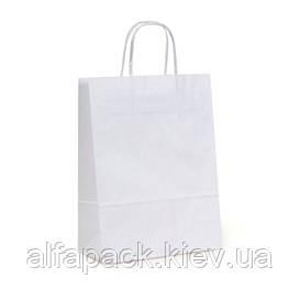 Пакет бумажный белый с прямоугольным дном и ручками 200х80х240 мм