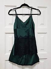 Женская пижама.Атлас, зеленый. Черное кружево L- 317-011, фото 3