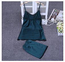 Женская пижама.Атлас, зеленый. Черное кружево L- 317-011, фото 2