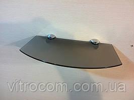 Полка стеклянная фигурная бронзовая матовая 4 мм 25×15 см в комплекте