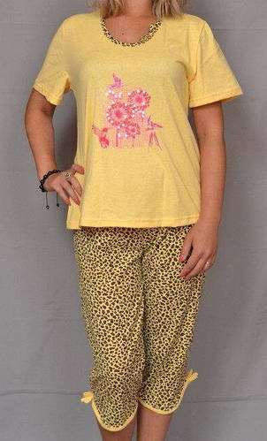 Пижама женская футболка с бриджами хлопковая трикотажная