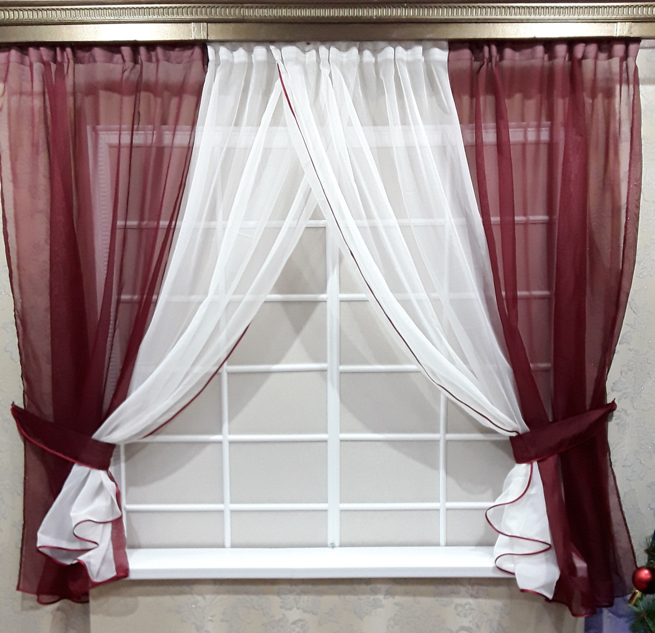 Комплект штор Кларис Бордо, кухонные