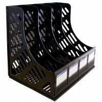 Лоток для бумаги вертикальный пластик ECONOMIX сборный на 4 отделения , черный E31902-01