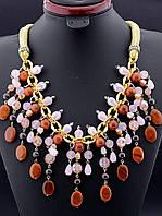 Ожерелье из граната и авантюрина + хрусталь, 9 подвесок, коричневый, 55 см, код украшения: 023000 пышные
