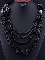 Бусы многорядные из агата, бусы из натурального камня агат черный массивные, натуральный камень, длина 62 см, украшение: 021720 многорядные