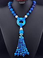 Бусы из синего агата с кисточкой, бусы из натурального камня агат 62 см, код украшения: 016881 с кисточкой