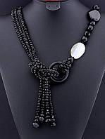 Бусы галстук из черного агата, ассиметричные, длина 80 см, код украшения: 022718 галстук
