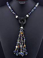 Бусы из агата черного кисточкой, бусы из натурального камня агат 95 см, код украшения: 019466 с кисточкой