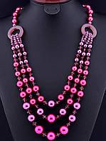 Бусы, ожерелье розовый жемчуг-майорка, бусины 1,6 см, длина 70 см (018145)