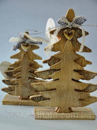 Елка новогодняя,23х15,5 см, дерево, сувенир новогодний настольный,  Днепр