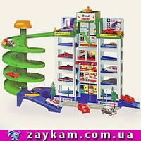 Паркинг со спиральным спуском, 12 мест, 6 уровней, 4 машинки, зелёные насаждения+наклейки, в коробке 39,5*10,5