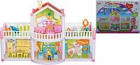 Домик для кукол os957, 2-этажа, 127-деталей, фигурки, кухня, кресла, ванна, кресла, диван, трюмо, балкон, в коробке