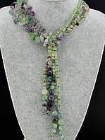 Бусы из флюорита, бусы из натурального камня флюорит 80 см, код украшения: 021312 галстук