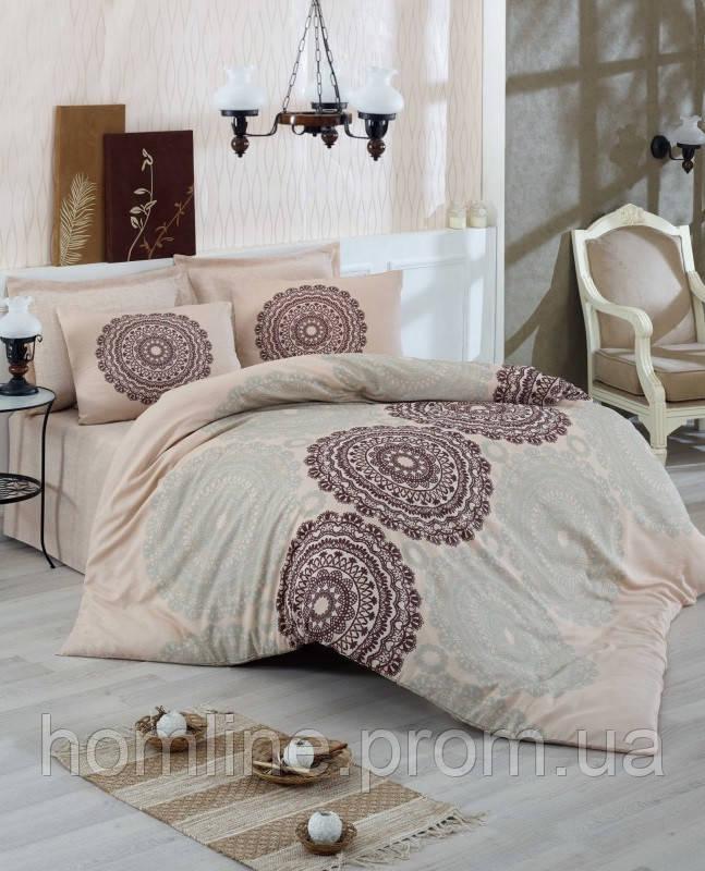 Постельное белье Eponj Home ранфорс Figura бежевое евро размер