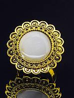 """Кольцо с кошачьим глазом. Кольцо с бежевым камнем """"Кошачий глаз"""" в желтом металле, стилистика восточная (016813 разъемное 15-20 размер) , фото 1"""