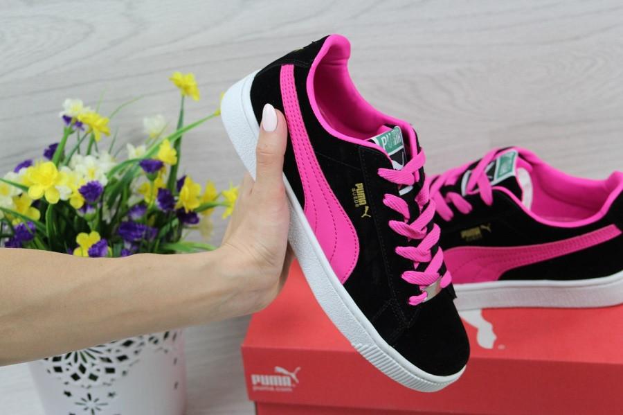 ba1cfd9b Кроссовки женские в стиле Puma Suede, цвет - черный с розовым, материал -  замша