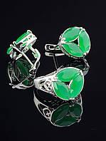 Комплект украшений фианит зеленый матовый Код: 016526 19 размер кольца