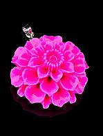 Кулон розовый цветок полимерная глина (006619)
